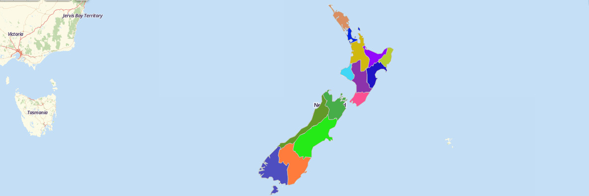 Map of New Zealand Regions